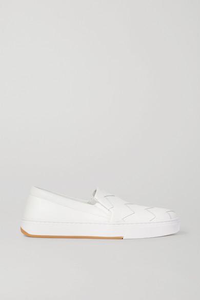 Bottega Veneta Speedster Intrecciato Leather Slip-on Sneakers In White