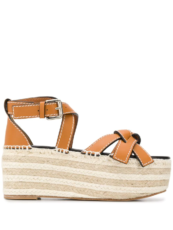 Loewe Gate Topstitched Leather Espadrille Platform Sandals In Brown