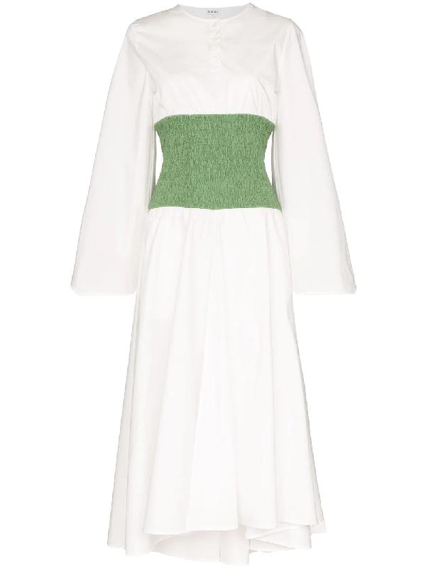 Loewe Two-tone Smocked Cotton-blend Poplin Midi Dress In White
