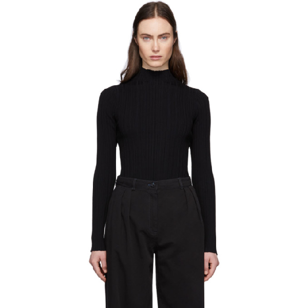 Acne Studios Ribbed-knit Cotton-blend Sweater In Black