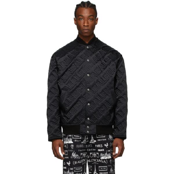 Balenciaga Cropped Logo Quilted Nylon Bomber Jacket In 1000 Black