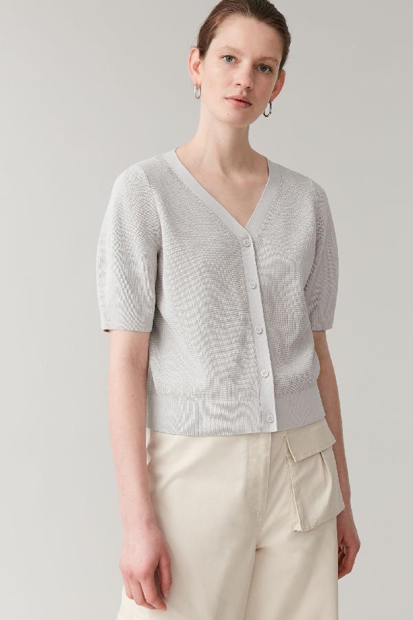 Cos Short-sleeved Cardigan In Grey