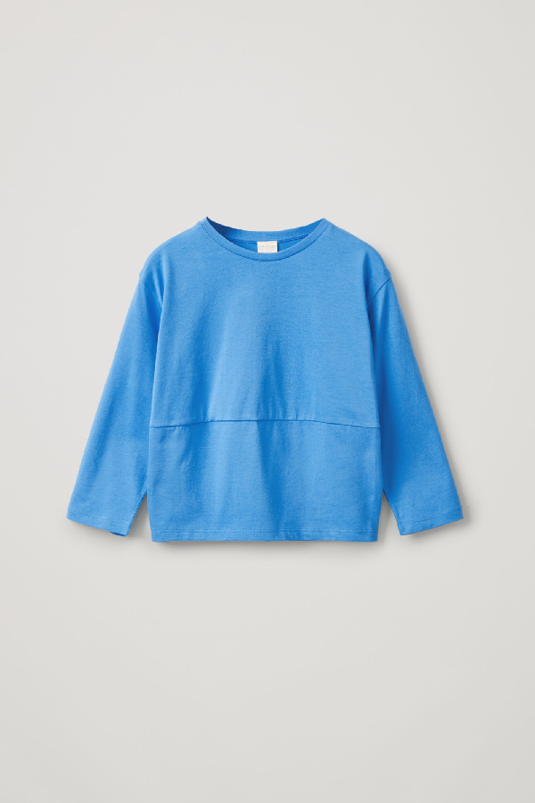Cos Kids' Rounded Organic Cotton Top In Blue