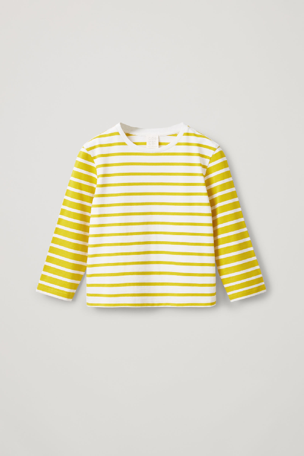 Cos Kids' Striped Organic Cotton Top In Yellow