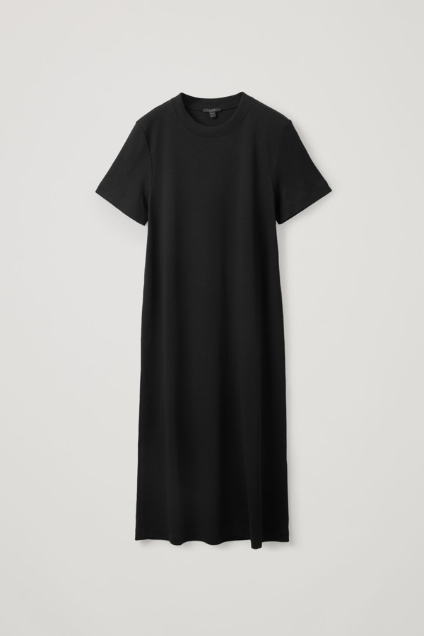 Cos A-line Cotton Jersey Dress In Black