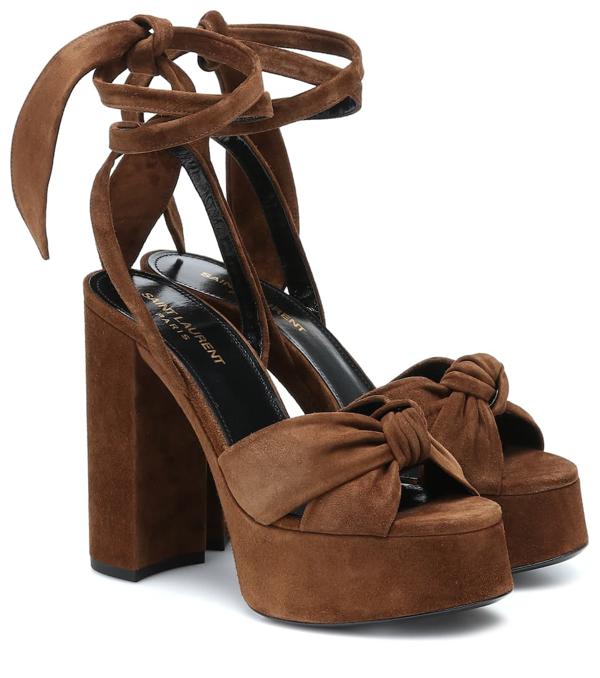 Saint Laurent Bianca Knotted Suede Platform Sandals In Brown