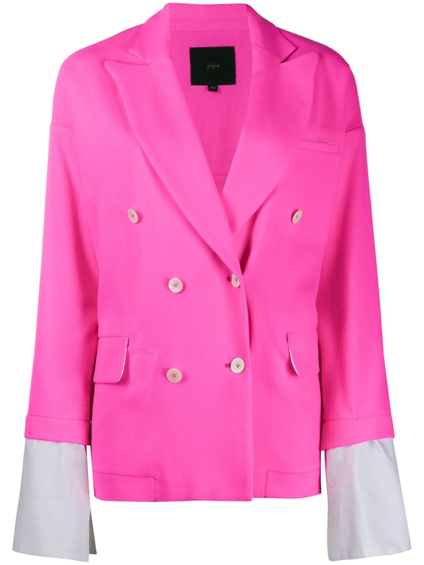 Jejia Double-breasted Layered Blazer In Pink