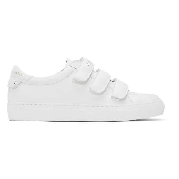 Givenchy Low-top Sneakers Urban Street Velcro Calfskin Logo White In 100 White