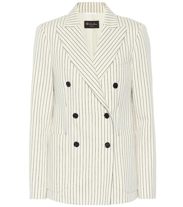 Loro Piana New York Double-breasted Pinstriped Cotton-twill Blazer In White