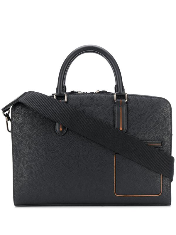 Ermenegildo Zegna Black Grained Leather Holdall Bag