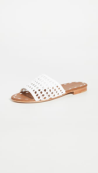 Carrie Forbes Women's Woven Raffia Slides In Blanc