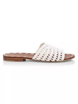 Carrie Forbes Woven Raffia Slides In White