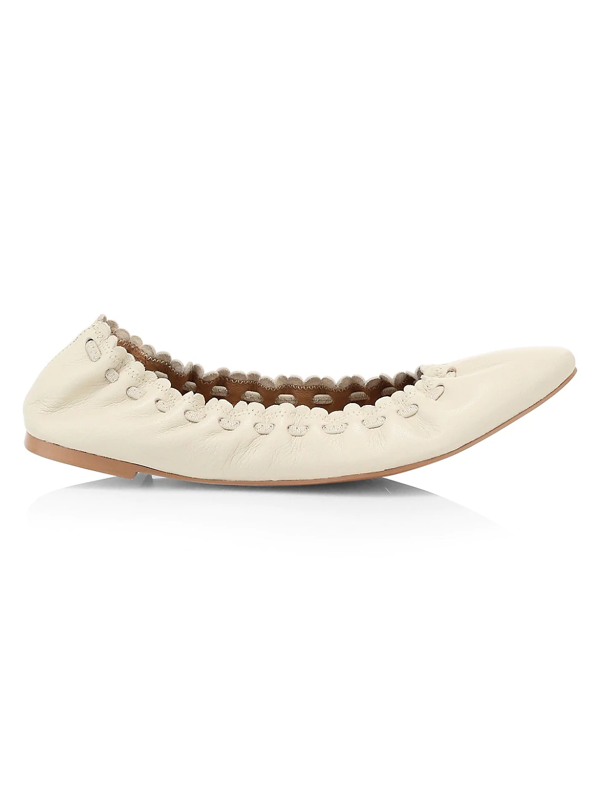See By Chloé Women's Jane Leather Ballet Flats In Gesso