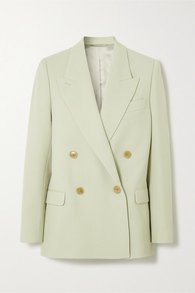 Acne Studios Janny Twill Double-breasted Blazer In Mint