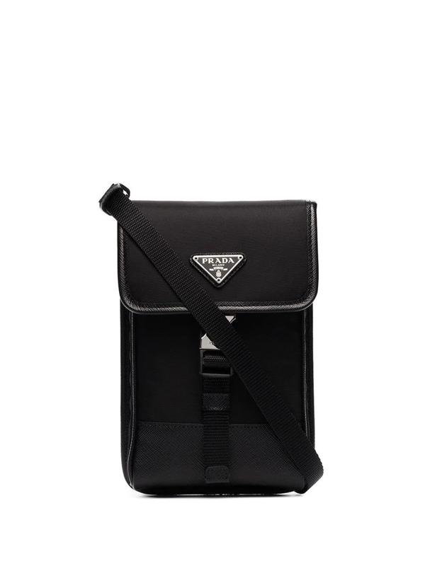 Prada Men's Black Leather Messenger Bag