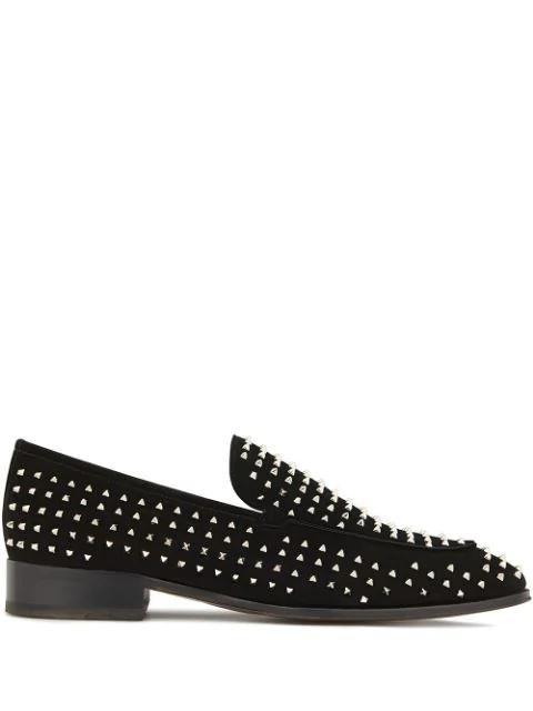 Giuseppe Zanotti Micro-stud Embellished Loafers In Black