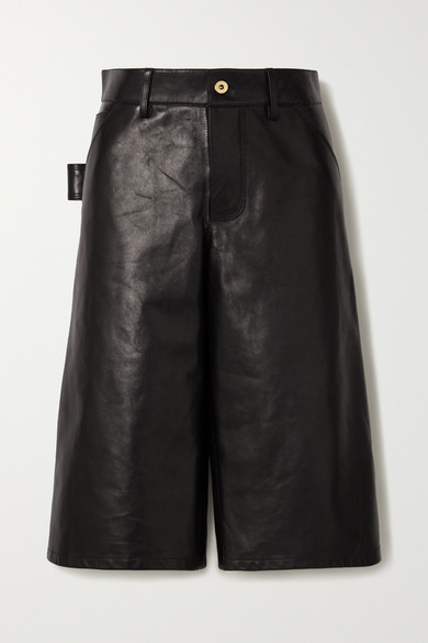 Bottega Veneta Knee-length Leather Shorts In Black