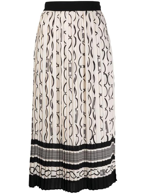 Elisabetta Franchi Catena Print Midi Skirt In Beige In Neutrals