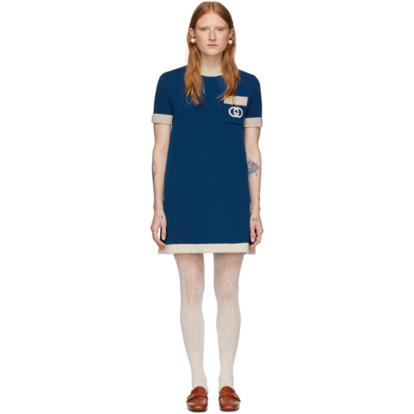 Gucci Short Sleeved Wool Knit Mini Dress In 4492 Blue