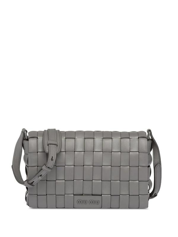 Miu Miu Woven Shoulder Bag In Grey
