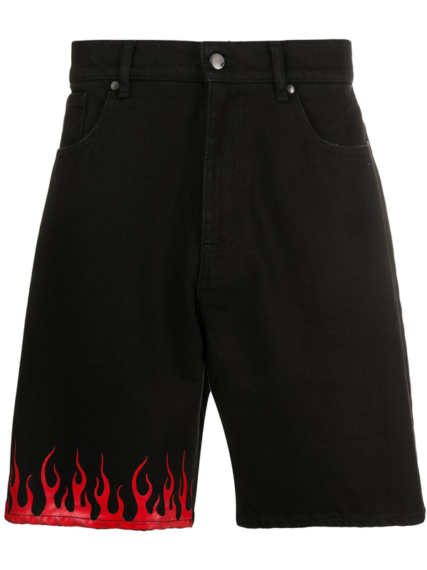 Vision Of Super Flame Print Shorts In Black