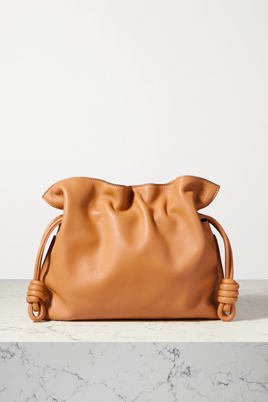 Loewe Flamenco Knot Leather Clutch In Camel