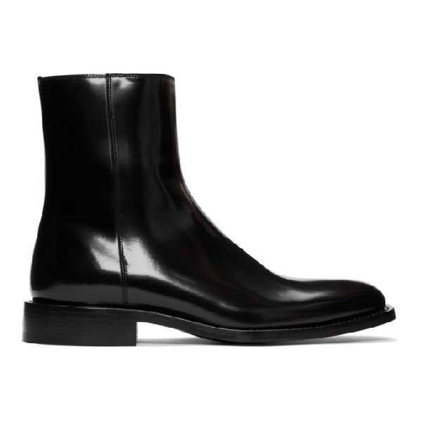 Balenciaga Chrystal Polished-leather Boots In 1000 Black