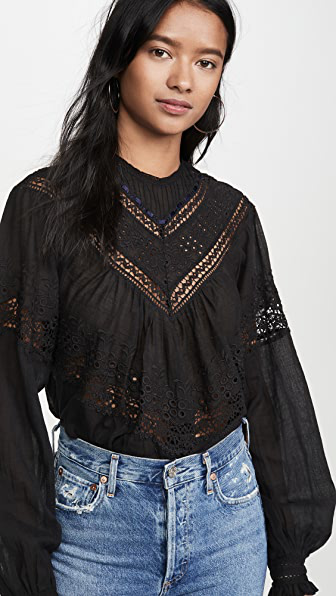 Free People Abigail Victorian Cotton Top In Black