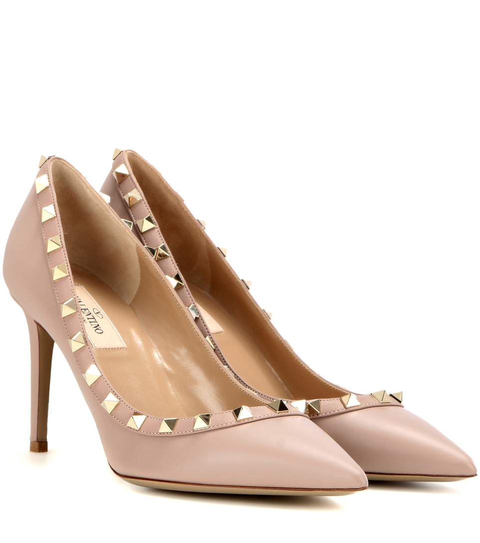 083e8e87ce Valentino Rockstud Leather 100Mm Pump, Powder (Poudre) In Black ...