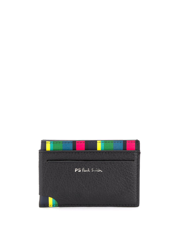 Ps By Paul Smith Block Stripe Cardholder In Black