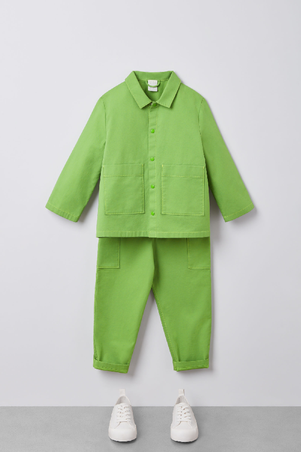 Cos Kids' Cotton Overshirt In Green