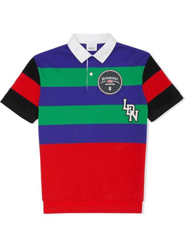 Burberry Kids Stripe Logo Polo Shirt (10-12 Years) In Multicolour