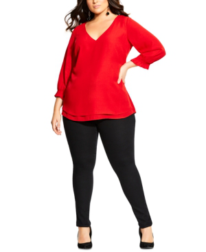 City Chic Ladies Pleated Sleeve Top sizes 14 16 18 22 Colour Lust Red