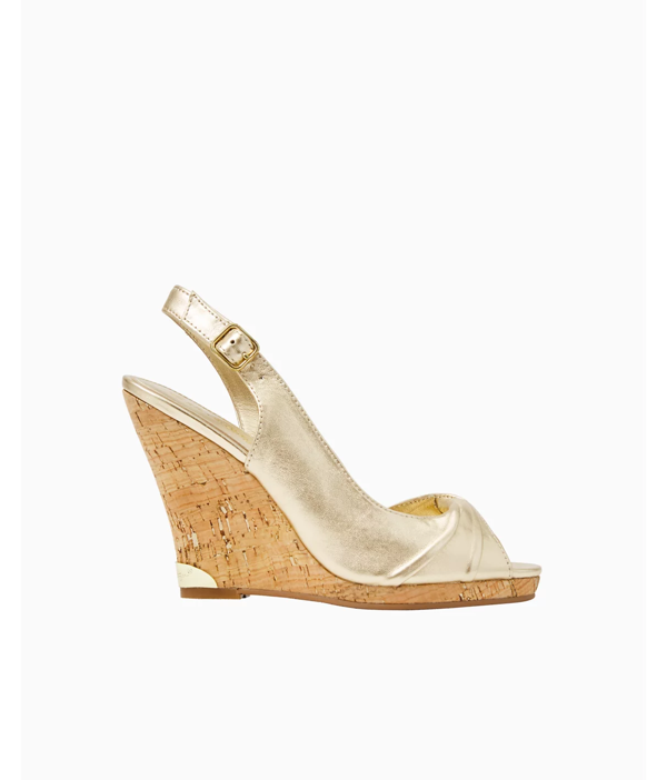 Lilly Pulitzer Christine Wedge In Gold Metallic