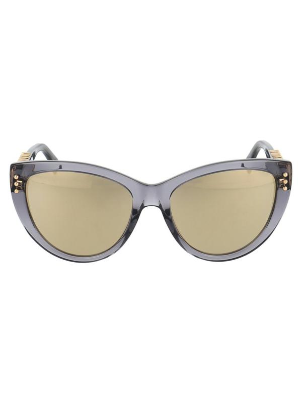 Moschino Eyewear Cat Eye Logo Detail Sunglasses In Grey