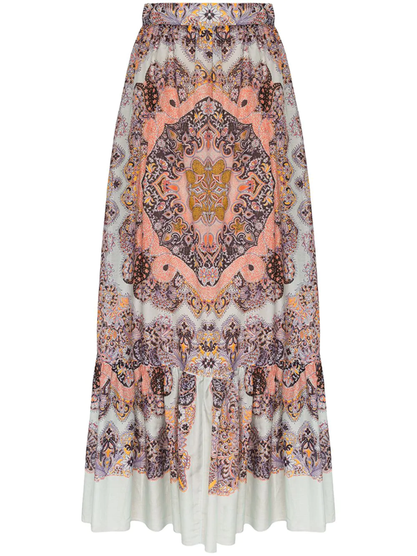 Etro Paisley-print Cotton And Silk-blend Voile Maxi Skirt In Light Blue