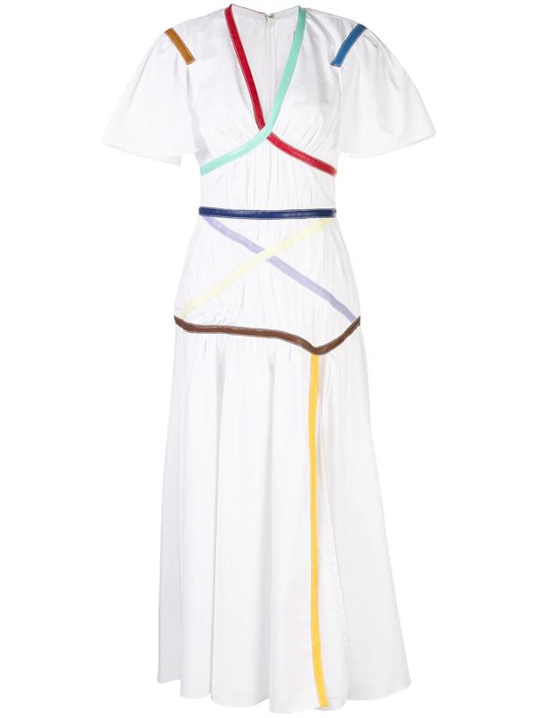 Rosie Assoulin Criss Cross Applesauce Faux Leather-trimmed Cotton-blend Poplin Midi Dress In White
