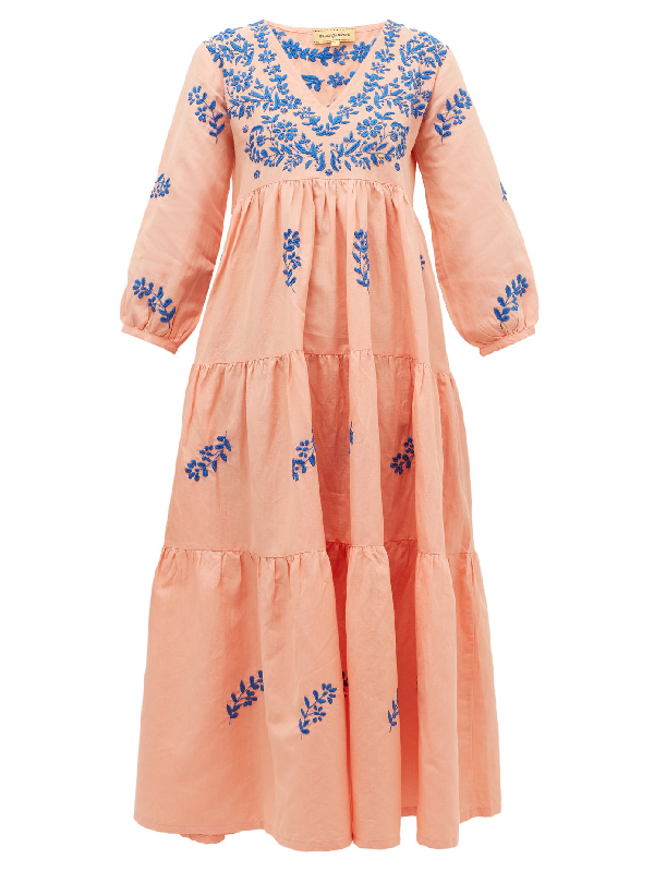 Muzungu Sisters Frangipani Floral-embroidered Tiered Dress In Pink Multi