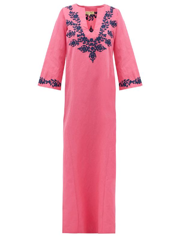 Muzungu Sisters Lotus-embroidered Linen Kaftan In Pink Multi