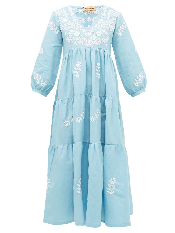 Muzungu Sisters Frangipani Floral-embroidered Tiered Dress In Blue Multi