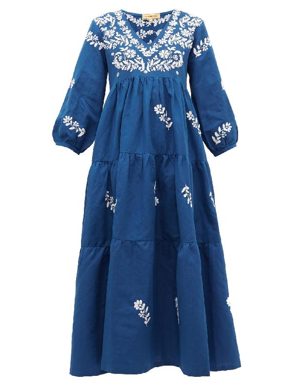 Muzungu Sisters Frangipani Floral-embroidered Cotton-blend Dress In Navy Multi