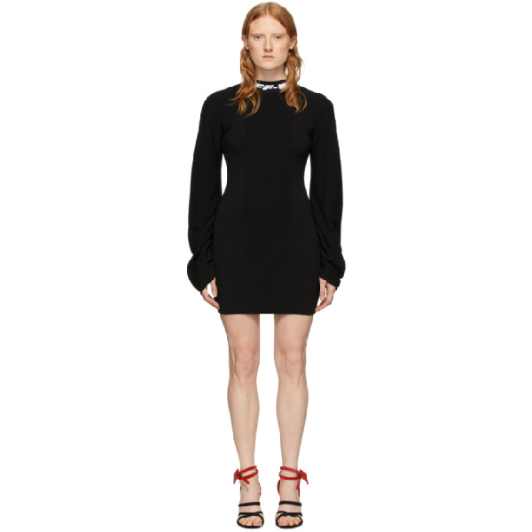 Off-white Logo-jacquard Open-back Knitted Mini Dress In Black