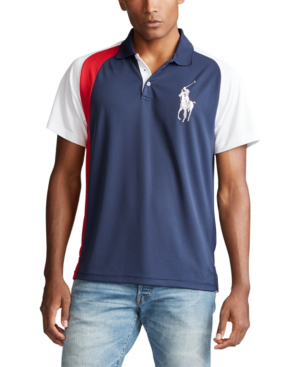 Polo Ralph Lauren Men's Big & Tall Classic Fit Performance Polo Shirt In Newport Navy Multi