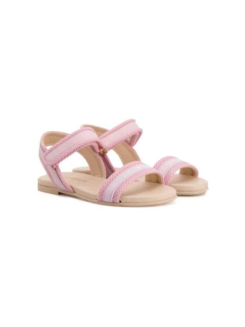 Emporio Armani Kids' Mesh Detail Sandals In Pink