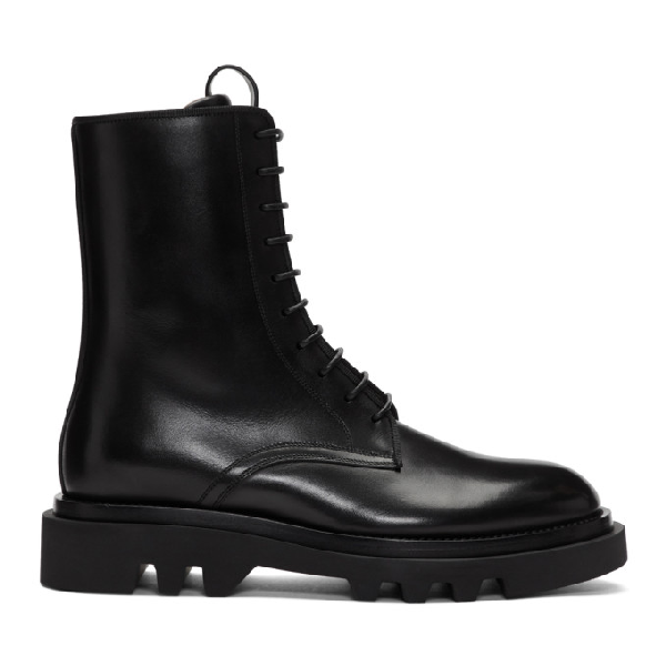 Givenchy Combat Leather Lace-up Derby Shoes In 001 Black