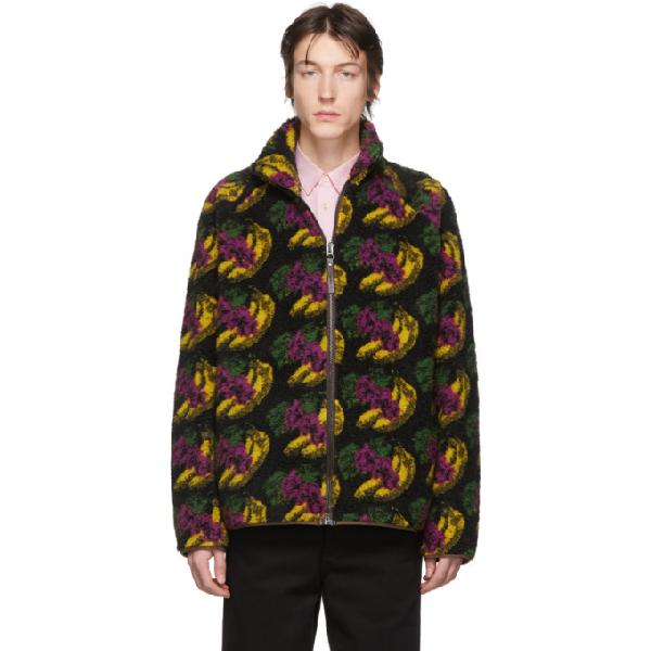 Acne Studios Fuzz Polar Fleece Zip-up Sweatshirt In Black