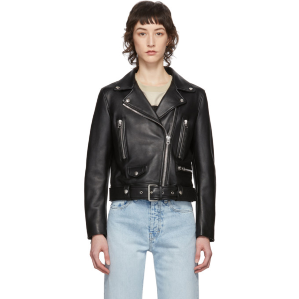 Acne Studios Mock Motorcycle Leather Jacket In Black