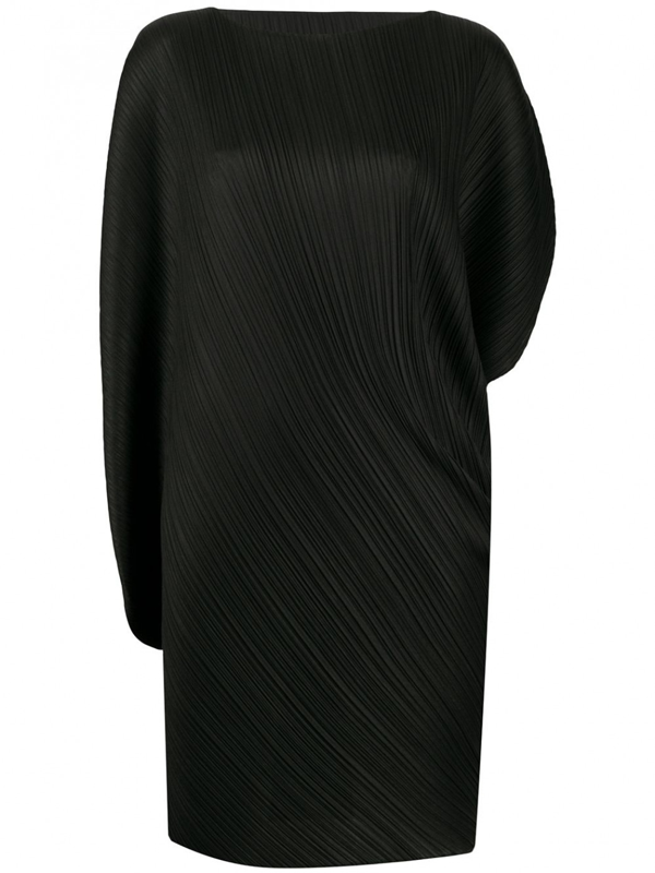 Pleats Please Issey Miyake Curved Dress In Black