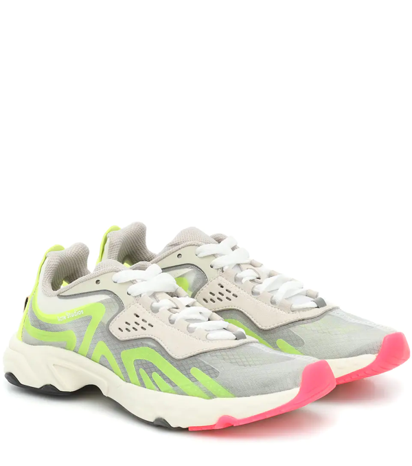 Acne Studios Ripstop, Rubber And Suede Sneakers In Light Gray
