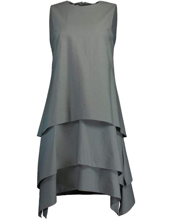 Brunello Cucinelli Eucalyptus Tiered Crewneck Mini Dress In Grey